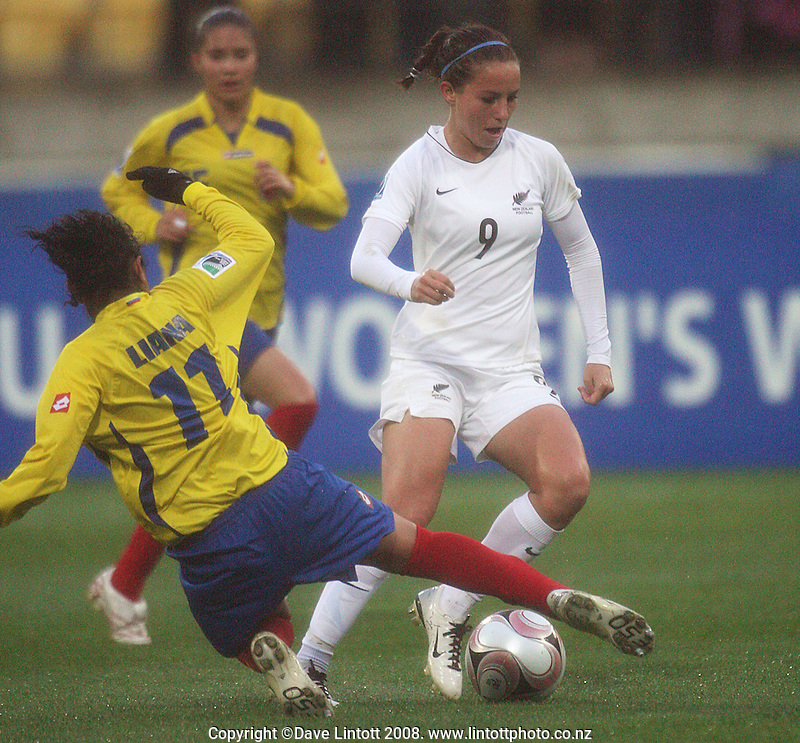 Columbia's Liana Salazar tackles Hannah Wall during the FIFA Women's Under-17 World Cup pool match between New Zealand and Columbia at Westpac Stadium, Wellington, New Zealand on Tuesday, 4 November 2008. Photo: Dave Lintott / lintottphoto.co.nz