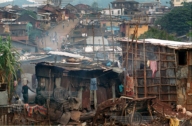 A view of the slum at Kroo Bay, where many shacks are constructed from corrugated iron.