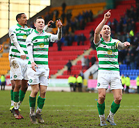 1st March 2020; McDairmid Park, Perth, Perth and Kinross, Scotland; Scottish Premiership Football, St Johnstone versus Celtic; Scott Brown of Celtic leads the players in celebration with the fans after the match