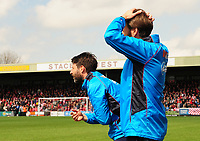 Lincoln City manager Danny Cowley and Lincoln City's assistant manager Nicky Cowley urge their players on<br /> <br /> Photographer Andrew Vaughan/CameraSport<br /> <br /> Vanarama National League - Lincoln City v Macclesfield Town - Saturday 22nd April 2017 - Sincil Bank - Lincoln<br /> <br /> World Copyright &copy; 2017 CameraSport. All rights reserved. 43 Linden Ave. Countesthorpe. Leicester. England. LE8 5PG - Tel: +44 (0) 116 277 4147 - admin@camerasport.com - www.camerasport.com