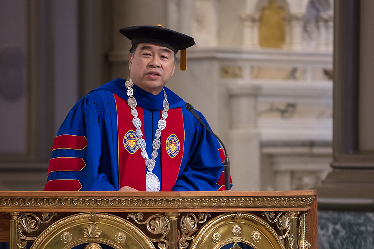 A. Gabriel Esteban, Ph.D., president of DePaul University, offers remarks at the 120th DePaul University Convocation on Thursday, August 31, 2017, at St. Vincent de Paul Parish Church. Marten denBoer, provost, also provided remarks, and many faculty and staff were recognized with annual awards including: Excellence in Teaching, Spirit of Inquiry, Excellence in Public Service, Vincent de Paul Professorship, Spirit of DePaul, Staff Quality Service, Gerald Paetsch Academic Advising and faculty promotion and tenure. (DePaul University/Jeff Carrion)