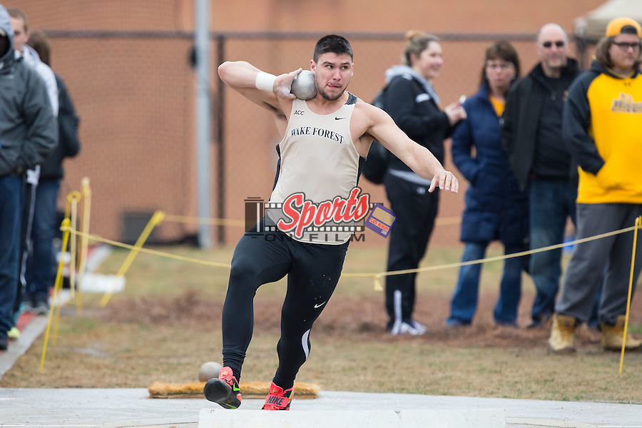 Rusty Provins of the Wake Forest Demon Deacons competes in the men's shot put at the Wake Forest Open on March 20, 2015 in Winston-Salem, North Carolina.  (Brian Westerholt/Sports On Film)