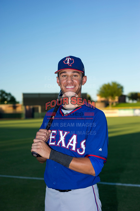 AZL Rangers 2017 Draft Pick Obie Ricumstrict (66) poses for a photo prior to a game against the AZL Giants on August 22 at Scottsdale Stadium in Scottsdale, Arizona. AZL Rangers defeated the AZL Giants 7-5. (Zachary Lucy/Four Seam Images via AP Images)