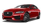 Stock pictures of low aggressive front three quarter view of 2016 Jaguar XF R-Sport 4 Door Sedan Low Aggressive
