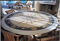 Mustique table top in hand chopped tumbled Blue Macauba, Blue Bahia, Giallo Reale, Renaisance Bronze, Travertine White