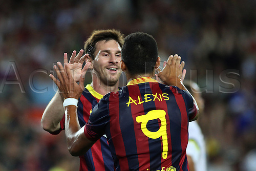 02.08.2013 Barcelona, Friendly football competition Joan Gamper Trophee.  Leo Messi and Alexis celebring a goal.