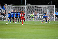 Kansas City, Mo. - Saturday April 23, 2016: FC Kansas City goalkeeper Nicole Barnhart (18) prepares to defend a free kick by Portland Thorns FC forward Hayley Raso (21) during a match at Swope Soccer Village. The match ended in a 1-1 draw.