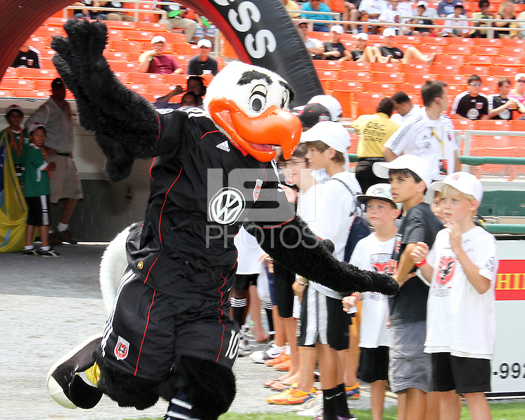 Talon, mascot of D.C. United during an MLS match against the Philadelphia Union at RFK Stadium on August 22 2010, in Washington DC. United won 2-0.