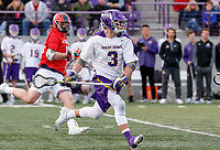 UAlbany Men's Lacrosse defeats Stony Brook on March 31 at Casey Stadium.  TD Ierlan (#3) on attack.