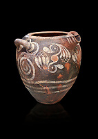 Luxury Minoan Kamares Ware storage pot with handles and polychrome floral decorations , Phaistos 1900-1700 BC; Heraklion Archaeological  Museum, black background.<br /> <br /> This style of pottery is named afetr Kamares cave where this style of pottery was first found
