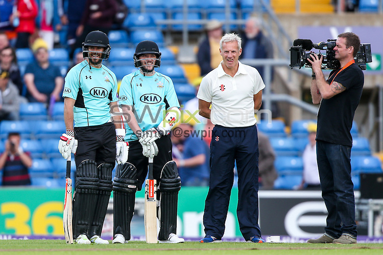 Picture by Alex Whitehead/SWpix.com - 05/06/2015 - Cricket - NatWest T20 Blast - Yorkshire Vikings v Lancashire Lightning - Headingley Cricket Ground, Leeds, England - A League Of Their Own, Jamie Redknapp, Jon Richardson, Peter Moores.