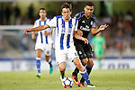 Real Sociedad's Mikel Oyarzabal (l) and Real Madrid's Carlos Henrique Casemiro during La Liga match. August 21,2016. (ALTERPHOTOS/Acero)