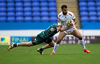 Exeter Chiefs' Tom O'Flaherty is tackled by London Irish's James Marshall<br /> <br /> Photographer Bob Bradford/CameraSport<br /> <br /> Aviva Premiership Round 20 - London Irish v Exeter Chiefs - Sunday 15th April 2018 - Madejski Stadium - Reading<br /> <br /> World Copyright &copy; 2018 CameraSport. All rights reserved. 43 Linden Ave. Countesthorpe. Leicester. England. LE8 5PG - Tel: +44 (0) 116 277 4147 - admin@camerasport.com - www.camerasport.com