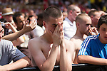 © Joel Goodman - 07973 332324 . 27/06/2010 . Manchester , UK . England fans watch England get knocked out of the World Cup by Germany on a big screen in Castlefield , Manchester on 27th June 2010 . Final score Germany 4-1 England . Photo credit : Joel Goodman