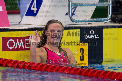 Katinka Hosszu of Hungary celebrates her victory in the Women's 200m Butterfly final of the 31th European Swimming Championships in Debrecen, Hungary on May 27, 2012. ATTILA VOLGYI