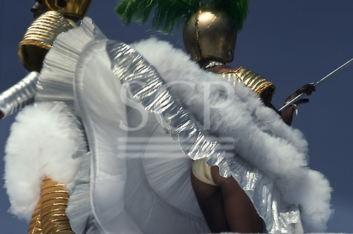 Rio de Janeiro, Brazil. Samba dancers during the carnival parade; futurist space traveller theme.