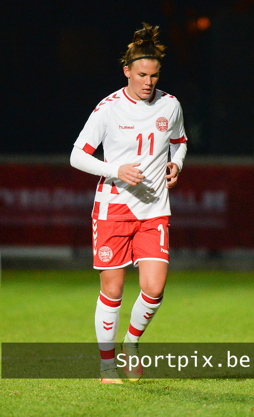 20161128 - TUBIZE ,  BELGIUM : Danish Katrine Veje  pictured during the female soccer game between the Belgian Red Flames and Denmark , a friendly game before the European Championship in The Netherlands 2017  , Monday 28 th November 2016 at Stade Leburton in Tubize , Belgium. PHOTO SPORTPIX.BE | DIRK VUYLSTEKE