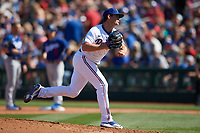 Texas Rangers pitcher Locke St. John (82) delivers a pitch during a Cactus League Spring Training game against the Los Angeles Dodgers on March 8, 2020 at Surprise Stadium in Surprise , Arizona. Rangers defeated the Dodgers 9-8. (Tracy Proffitt/Four Seam Images)