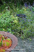 65821-00302 Blue Birdbath in garden with Salvias and yellow lantana, Montrose Gardens Hillsborough, NC