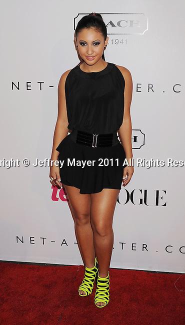 HOLLYWOOD, CA - SEPTEMBER 23: Francia Raisa arrives at the 9th Annual Teen Vogue Young Hollywood Party at Paramount Studios on September 23, 2011 in Hollywood, California.