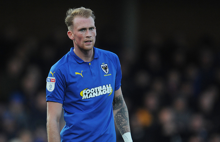 AFC Wimbledon's Mitch Pinnock<br /> <br /> Photographer Kevin Barnes/CameraSport<br /> <br /> The EFL Sky Bet League One - AFC Wimbledon v Blackpool - Saturday 29th December 2018 - Kingsmeadow Stadium - London<br /> <br /> World Copyright © 2018 CameraSport. All rights reserved. 43 Linden Ave. Countesthorpe. Leicester. England. LE8 5PG - Tel: +44 (0) 116 277 4147 - admin@camerasport.com - www.camerasport.com
