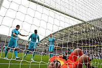 Hugo Lloris of Tottenham Hotspurr lies injured during the first goal scored by Neal Maupay of Brighton and Hove Albion during Brighton & Hove Albion vs Tottenham Hotspur, Premier League Football at the American Express Community Stadium on 5th October 2019