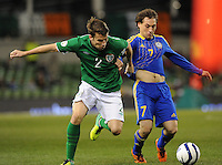 15th October 2013; Seamus Coleman, Ireland, in action against Igor Yurin, Kazakhstan. World Cup Qualifier Group C, Republic of Ireland v Kazakhstan, Aviva Stadium, Dublin. Picture credit: Tommy Grealy/actionshots.ie.
