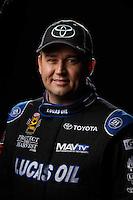 Feb 10, 2016; Pomona, CA, USA; NHRA top fuel driver Richie Crampton poses for a portrait during media day at Auto Club Raceway at Pomona. Mandatory Credit: Mark J. Rebilas-USA TODAY Sports