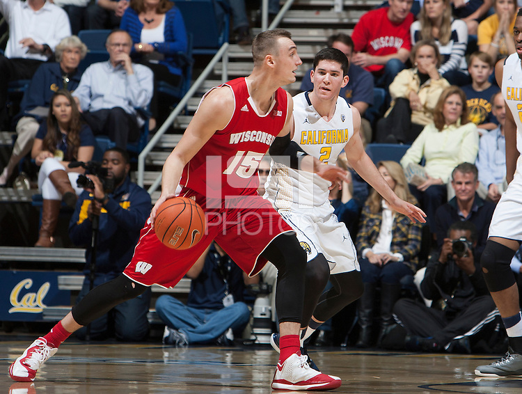 Berkeley, CA - December 22, 2014: California Golden Bears'  56-68 loss to Wisconsin Badgers during NCAA Men's Basketball game at Haas Pavilion.