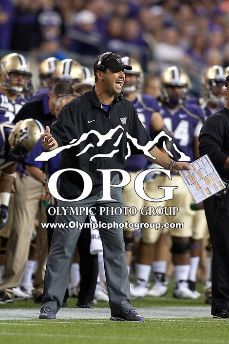 Sept 01, 2012:  Washington head coach Steve Sarkisian against San Diego State.  Washington defeated San Diego State 21-12 at CenturyLink Field in Seattle, Washington...