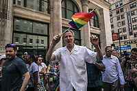 NEW YORK JUNE 25:  Mayor Bill De Blasio arrives to the NYC Pride March on June 25, 2017 in New York. (Photo by Maite H. Mateo/VIEWpress/Corbis via Getty Images)