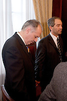 South America, Argentina, Buenos Aires, La Plata, Evangelism - Local pastor Juan Zuccarelli, prays with the Mayor of La Plata, Mayor Julio Cesar Alak, July 2006, &copy;Stephen Blake Farrington<br />