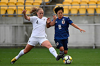 Japan&rsquo;s Mana Iwabuchi and Ferns&rsquo; CJ Bott in action during the  International Football - Football Ferns v Japan  at Westpac Stadium, Wellington, New Zealand on Sunday 10 June 2018.<br /> Photo by Masanori Udagawa. <br /> www.photowellington.photoshelter.com