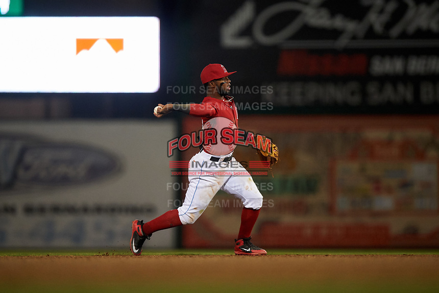 Inland Empire 66ers shortstop Luis Rengifo (3) makes a throw to first base during a California League game against the Lancaster JetHawks at San Manuel Stadium on May 18, 2018 in San Bernardino, California. Lancaster defeated Inland Empire 5-3. (Zachary Lucy/Four Seam Images)