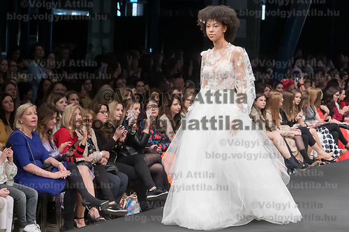 Model presents creation from the Rebelle collection of designer Anita Benes of the Daalarna brand during a fashion show in Budapest, Hungary on April 12, 2019. ATTILA VOLGYI