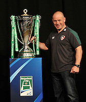 London, England. Leicester Tigers Director of Rugby Richard Cockerill poses with the Heineken Cup during the UK Heineken Cup and Amlin Challenge Cup season launch at SKY Studios on October 1, 2012 in London, England.