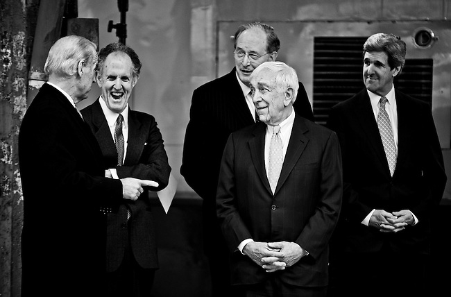 From left, Vice President Joe Biden speaks with Sens. Ted Kaufman, John Rockefeller, D-W.Va., Frank Lautenberg, D-N.J., and John Kerry, D-Mass., during the event to announce funding for Amtrak as part of the American Recovery and Reinvestment Act at Union Station in Washington on March 13, 2009.