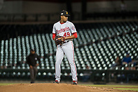 Salt River Rafters starting pitcher Luis Reyes (49), of the Washington Nationals organization, gets ready to deliver a pitch during an Arizona Fall League game against the Mesa Solar Sox at Sloan Park on October 16, 2018 in Mesa, Arizona. Salt River defeated Mesa 2-1. (Zachary Lucy/Four Seam Images)