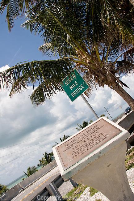 Seven mile Bridge plaque commemorating  Bernie Papy, a Florida State representative.