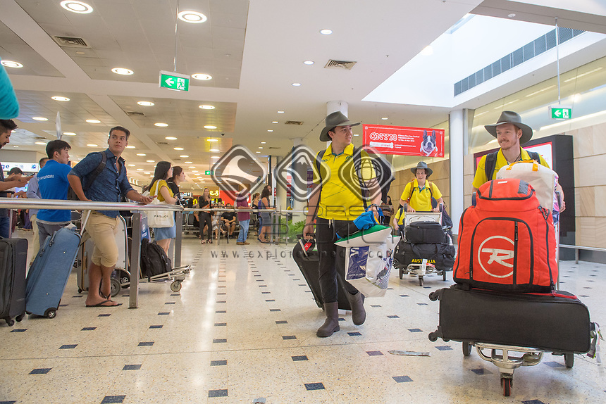 Welcome home - Sydney airport / Jeremy O'Sullivan and Patrick Jensen<br /> PyeongChang 2018 Paralympic Games<br /> Australian Paralympic Committee<br /> Sydney International Airport<br /> PyeongChang South Korea<br /> Tuesday March 20th 2018<br /> © Sport the library / Jeff Crow