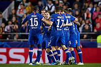27th November 2019; Mestalla, Valencia, Spain; UEFA Champions League Footballl,Valencia versus Chelsea; Christian Pulisic of Chelsea celebrates with his team mates after scoring in minute 53' the second goal for his team (1-2) - Editorial Use