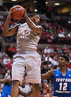 Ohio State Buckeyes guard Lenzelle Smith Jr. (32) leaps for a defensive rebound in the second half of the college basketball game between the Ohio State Buckeyes and the Central Connecticut State Blue Devils at Value City Arena in Columbus, Saturday afternoon, December 7, 2013. The Ohio State Buckeyes defeated the Central Connecticut State Blue Devils 74 - 56. (The Columbus Dispatch / Eamon Queeney)