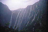 "Waterfalls below Mt. Wai`ale`ale, headwaters of Wailua River, after thunderstorm. East Kaua`i. Wai`ale`ale """"Crater""""."