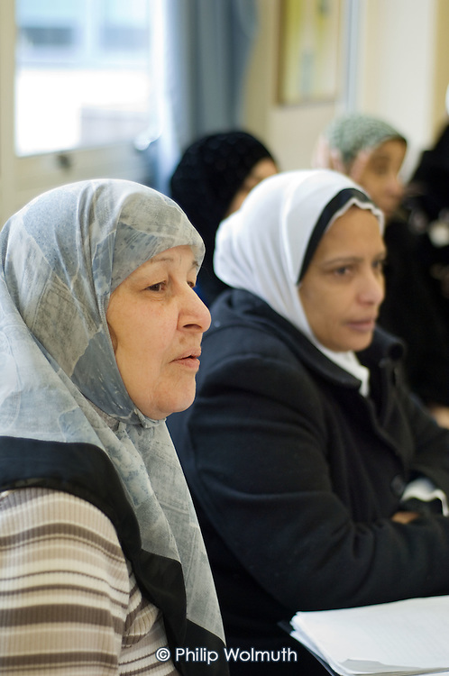 British-Arab Resource Centre English language class held at the WECH Community Centre on Elgin Estate, Paddington, London