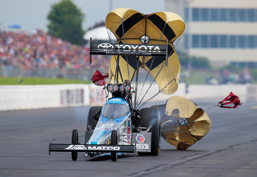 Jun 9, 2019; Topeka, KS, USA; NHRA top fuel driver Antron Brown during the Heartland Nationals at Heartland Motorsports Park. Mandatory Credit: Mark J. Rebilas-USA TODAY Sports