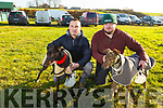 Ally O'Connor and Mossie Leen and their dogs Pennylane Conor and Bpmber Leight at the Ballyduff Coursing on Sunday