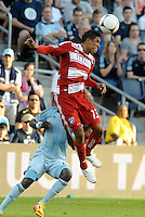 Hernan Pertuz (13) FC Dallas defender wins the header... Sporting Kansas City defeated FC Dallas 2-1 at LIVESTRONG Sporting Park, Kansas City, Kansas.