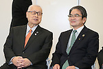 April 8, 2016, Tokyo, Japan - Tokyo2020 emblem selection committee head and Tokyo University of Arts president Ryohei Miyata (R) smiles with former Prime Minister and Tokyo2020 committee president Yoshiro Mori as they unveil four candidate designs of Tokyo2020 Olympic and Paralympic Games emblems in Tokyo on Friday, April 8, 2016. The committee will decide the final design from the 14,599 entry designs on April 25.  (Photo by Yoshio Tsunoda/AFLO) LWX -ytd-