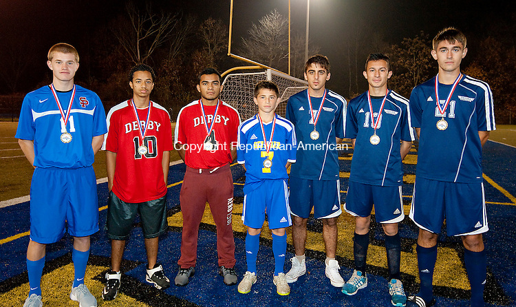 WATERBURY, CT--- -110515JS28--Members of the All-Copper Boys Soccer team, from left, Jackson Hines-St. Paul; Bairon Chavez-Derby; Melvin Bolanos-Derby; Griffin Tomas-Seymour; Bervan Uladag-Ansonia; Allan Fernandez-Ansonia and Eldi Shahini-Ansonia. Not pictured Peter Ragaini-eymour<br /> Jim Shannon Republican-American