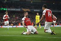 Arsenal's Sokratis Papastathopoulos celebrates scoring his side's third goal with Pierre-Emerick Aubameyang<br /> <br /> Photographer Rob Newell/CameraSport<br /> <br /> UEFA Europa League Round of 32 Second Leg - Arsenal v BATE Borisov - Thursday 21st February 2019 - The Emirates - London<br />  <br /> World Copyright © 2018 CameraSport. All rights reserved. 43 Linden Ave. Countesthorpe. Leicester. England. LE8 5PG - Tel: +44 (0) 116 277 4147 - admin@camerasport.com - www.camerasport.com